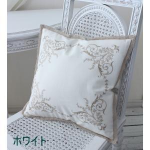 刺繍が素敵なクッションカバー (コットン・4色) 40cm角 フレンチシック 輸入雑貨 アンティーク風 アンティーク 雑貨 姫系 シャビーシック フレンチカントリー|style-rococo|04