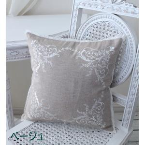 刺繍が素敵なクッションカバー (コットン・4色) 40cm角 フレンチシック 輸入雑貨 アンティーク風 アンティーク 雑貨 姫系 シャビーシック フレンチカントリー|style-rococo|05