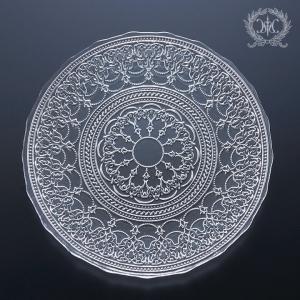 スタイルロココ トルコ製の素敵なガラス食器♪ (プレートLサイズ) ガラスプレート 輸入食器 ガラス製 ケーキ皿 ディナー皿