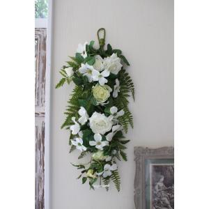 スタイルロココ フラワーデコ・ホワイトローズ 造花の壁掛け シルクフラワー アーティフィシャルフラワー ウォールデコ 壁飾り 薔薇