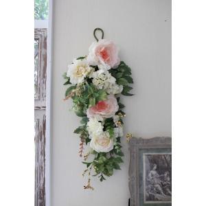 スタイルロココ フラワーデコ・ピンクシャクヤク 造花の壁掛け 芍薬 シルクフラワー アーティフィシャルフラワー ウォールデコ 壁飾り 薔薇