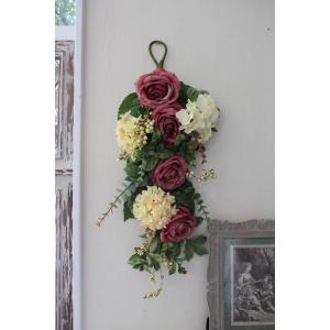 スタイルロココ フラワーデコ・ピンクモーブ&アジサイ 造花の壁掛け シルクフラワー アーティフィシャルフラワー ウォールデコ 壁飾り 薔薇 紫陽花