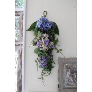 スタイルロココ フラワーデコ・ブルー&パープルアジサイ 造花の壁掛け シルクフラワー アーティフィシャルフラワー ウォールデコ 壁飾り 薔薇 紫陽花