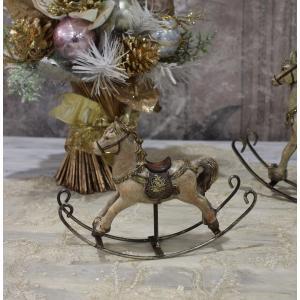 スタイルロココ アンティークカラーのロッキングホースS オブジェ クリスマス ディスプレイ シャビーシック フレンチカントリー アンティーク 雑貨 輸入雑貨 antique shabby chic