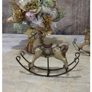 スタイルロココ アンティークカラーのロッキングホースM オブジェ クリスマス ディスプレイ シャビーシック フレンチカントリー アンティーク 雑貨 輸入雑貨 antique shabby chic