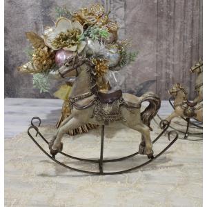 スタイルロココ アンティークカラーのロッキングホースL オブジェ クリスマス ディスプレイ シャビーシック フレンチカントリー アンティーク 雑貨 輸入雑貨 antique shabby chic