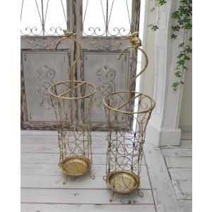 アンティーク風のお洒落な傘立て(ラビット・バード) アンブレラスタンド 傘立て ゴールド アイアン製 シャビーシック アンティーク 雑貨 アンティーク風 輸入の写真