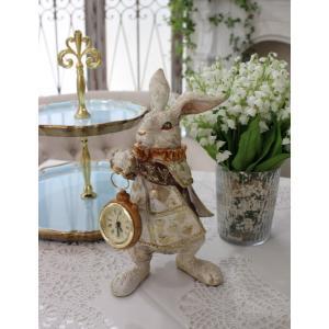 スタイルロココ アリスラビットの置時計 置物 オブジェ 不思議の国のアリス ウサギ  ディスプレイ シャビーシック フレンチカントリー アンティーク 雑貨 輸入雑貨 antique shabby chic