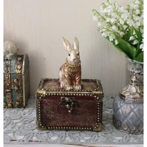 バロックラビットボックスS ウサギの置物 アンティーク風 雑貨 シャビーシック フレンチカントリー ...
