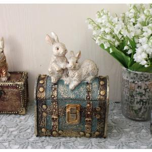 バロックラビットボックスL ウサギの置物 アンティーク風 雑貨 シャビーシック フレンチカントリー ...