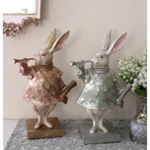 バロックラビット(ピンク・ブルー)ウサギの置物 アンティーク風 雑貨 シャビーシック フレンチカント...