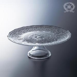 スタイルロココ 流行りのモロッコテイスト♪ アラベスク・ケーキスタンドL (クリアー) ケーキプレート 洋食器 ガラス製 トルコ製 アンティーク風 アンティーク 食器 雑貨 姫系