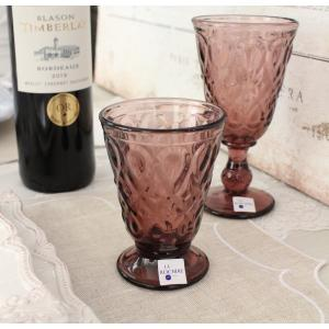 スタイルロココ ガラス製 ゴブレット(リヨネ・アメジスト200cc) 【La Rochere】 フランス製 ラロシェール ウォーターグラス タンブラー ガラス食器 アンティーク風 可愛い
