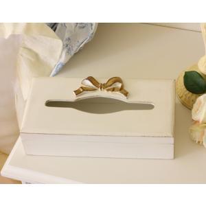 スタイルロココ シャビーシックなイタリア製 SOLDI リボンティッシュボックス 木製 ホワイト×ゴールドリボン 姫系 アンティーク風 シャビー[23222F]