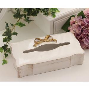 スタイルロココ アンティーク風なイタリア製 SOLDI リボンティッシュボックス(curve) 木製 ホワイト×ゴールドリボン シャビーシック 姫系 アンティーク[f30110]