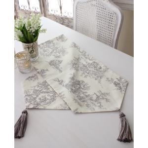 スタイルロココ イギリスのトワルドジュイが素敵なテーブルランナー(ホワイト×グレー) イギリス生地 テーブルセンター 布製 フレンチカントリー シャビーシック ジュイ柄