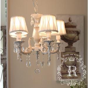 姫系 シャビーシック アンティーク風 LED シャンデリア 5灯 アンティークホワイト 白 フレンチ 天井照明|style-rococo