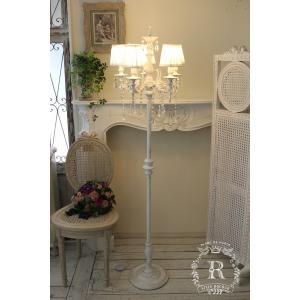 シャビーシックなフロアランプ LED シャンデリア 5灯 アンティークホワイト アンティーク フレンチ 姫系 アンティーク風 白いシャンデリア LED電球 白熱電球|style-rococo