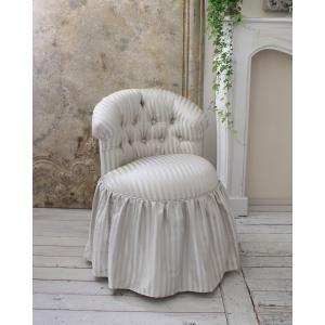 NEW♪♪ ロマンティックなファブリックチェア 【プリマ・ストライプグレー】 スツール 椅子 布張り シャビーシック アンティーク調 フレンチカントリ|style-rococo