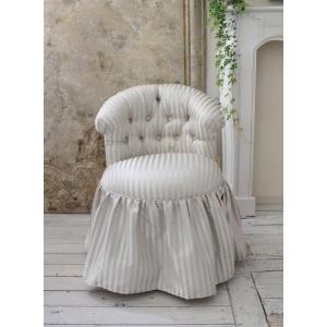 NEW♪♪ ロマンティックなファブリックチェア 【プリマ・ストライプグレー】 スツール 椅子 布張り シャビーシック アンティーク調 フレンチカントリ|style-rococo|02