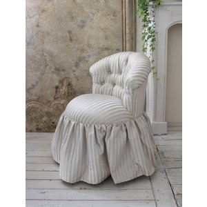 NEW♪♪ ロマンティックなファブリックチェア 【プリマ・ストライプグレー】 スツール 椅子 布張り シャビーシック アンティーク調 フレンチカントリ|style-rococo|03