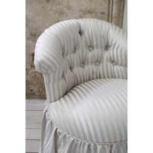 NEW♪♪ ロマンティックなファブリックチェア 【プリマ・ストライプグレー】 スツール 椅子 布張り シャビーシック アンティーク調 フレンチカントリ|style-rococo|05