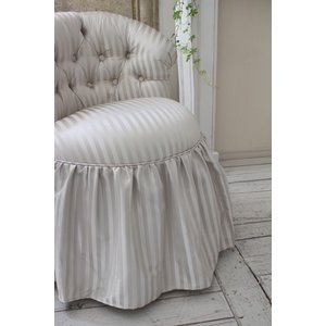 NEW♪♪ ロマンティックなファブリックチェア 【プリマ・ストライプグレー】 スツール 椅子 布張り シャビーシック アンティーク調 フレンチカントリ|style-rococo|06