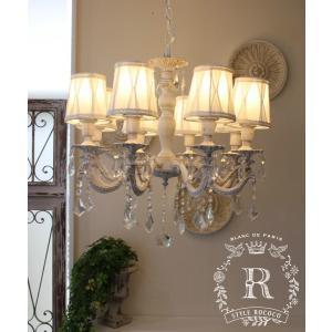 シャビーシックな LED シャンデリア 8灯 アンティークホワイト 天井照明 フレンチ アンティーク風 白いシャンデリア LED電球|style-rococo