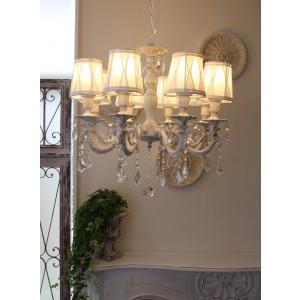 シャビーシックな LED シャンデリア 8灯 アンティークホワイト 天井照明 フレンチ アンティーク風 白いシャンデリア LED電球|style-rococo|02