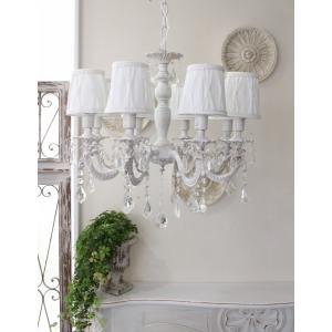 シャビーシックな LED シャンデリア 8灯 アンティークホワイト 天井照明 フレンチ アンティーク風 白いシャンデリア LED電球|style-rococo|03