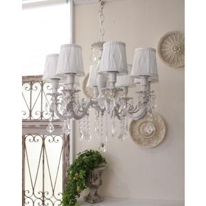 シャビーシックな LED シャンデリア 8灯 アンティークホワイト 天井照明 フレンチ アンティーク風 白いシャンデリア LED電球|style-rococo|04