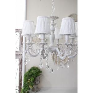 シャビーシックな LED シャンデリア 8灯 アンティークホワイト 天井照明 フレンチ アンティーク風 白いシャンデリア LED電球|style-rococo|06