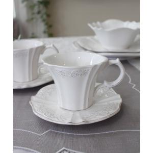 スタイルロココ シャビーシックなフレンチ食器 パリスシリーズ カップ&ソーサー C&S アンティーク風 陶器 白 アンティーク 食器 白い食器 お洒落