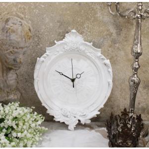 スタイルロココ フレンチホワイトのデコラティブ掛け時計 フレンチシック クォーツ掛け時計 輸入雑貨 アンティーク風 雑貨 シャビーシック フレンチカントリー 姫系