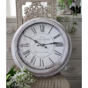 スタイルロココ シャビーホワイトのフレンチ掛け時計 フランスロゴ アンティーク 雑貨 掛け時計 ウォールクロック アンティーク風 シャビーシック antique