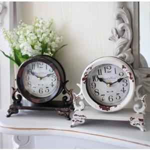 スタイルロココ シャビーシックなアイアンフレンチ置時計 (ホワイト・ブラック) 置時計 テーブルクロック 輸入雑貨 アンティーク調 アンティーク 雑貨 antique