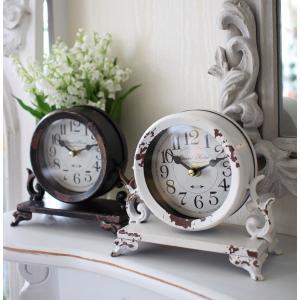 シャビーシックなアイアンフレンチ置時計 (ホワイト・ブラック) 置時計 テーブルクロック 輸入雑貨 アンティーク調 アンティーク 雑貨 antique|style-rococo|02