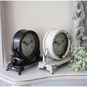 シャビーシックなアイアンフレンチ置時計 (ホワイト・ブラック) 置時計 テーブルクロック 輸入雑貨 アンティーク調 アンティーク 雑貨 antique|style-rococo|03