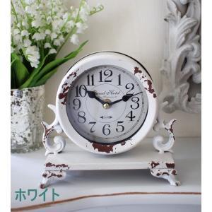 シャビーシックなアイアンフレンチ置時計 (ホワイト・ブラック) 置時計 テーブルクロック 輸入雑貨 アンティーク調 アンティーク 雑貨 antique|style-rococo|04