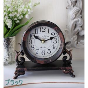 シャビーシックなアイアンフレンチ置時計 (ホワイト・ブラック) 置時計 テーブルクロック 輸入雑貨 アンティーク調 アンティーク 雑貨 antique|style-rococo|05