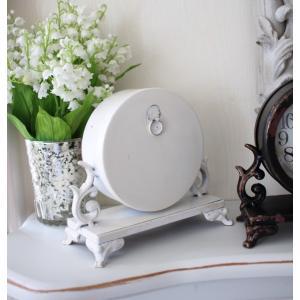 シャビーシックなアイアンフレンチ置時計 (ホワイト・ブラック) 置時計 テーブルクロック 輸入雑貨 アンティーク調 アンティーク 雑貨 antique|style-rococo|06