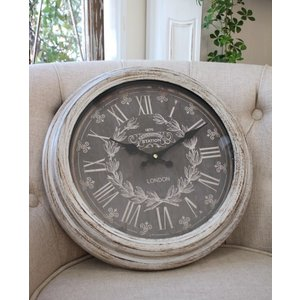 スタイルロココ シャビーグレーのフレンチ掛け時計(ロンドンロゴ) アンティーク 雑貨 掛け時計 ウォールクロック アンティーク風 シャビーシック antique