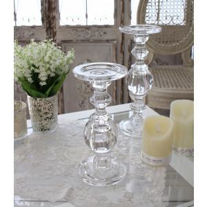 スタイルロココ ガラス製のキャンドルスタンド(ボールタイプM) 燭台 キャンドルホルダー シャビーシック 姫系 アンティーク 雑貨 アンティーク風 antique