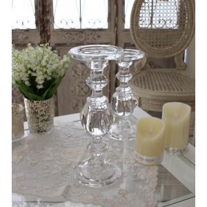 スタイルロココ ガラス製のキャンドルスタンド(ボールタイプL) 燭台 キャンドルホルダー シャビーシック 姫系 アンティーク 雑貨 アンティーク風 antique