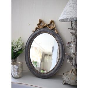 スタイルロココ シャビーシックなリボンミラーM オーバル形 グレイ×ゴールド 壁掛け卓上両用 アンティーク風 雑貨 フレンチカントリー 鏡