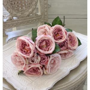 オールドローズ・パープルブーケ7輪  【シルクフラワー・アーティフィシャルフラワー】 紫色 花束 薔薇 造花