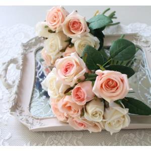 スタイルロココ ホワイトピンクローズブーケ9輪 【シルクフラワー・アーティフィシャルフラワー】 ピンク パープル ワイン 薔薇 造花