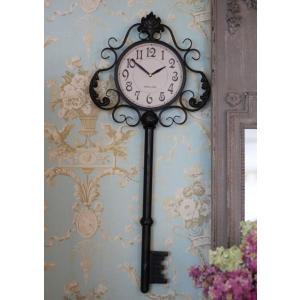 掛け時計♪ アンティーク ラージキー・ウォールクロック アイアンクロック アンティーク調 掛時計 フレンチカントリー シャビーシック french country style-rococo 06