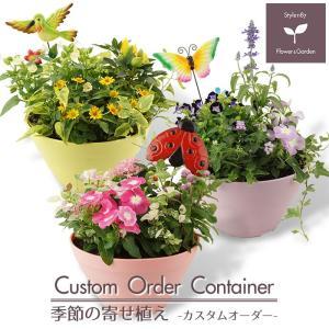 鉢色・花色・ピックを選んであなた好みの寄せ植えがきっと見つかります♪ 旬のお花がたっぷり!玄関やベラ...