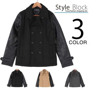 Pコート ピーコート ショート アウター PUレザー 袖切り替え ウール アウター ジャケット メンズ|styleblock